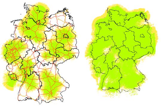 DAB-Abdeckung (Mobilempfang) 2011 und 2015